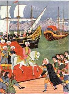 Rodos  Şovalyelerinin Lideri, Büyük Üstad Pierre d'Aubusson Adaya Çıkan Cem  Sultanı Karşılıyor