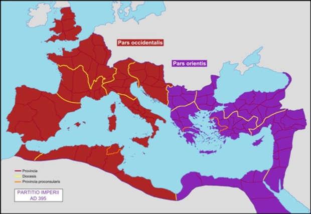 Milattan sonra 395'te Doğu ve Batı Roma-Milyon Anıtı'ndan başlayan dünya