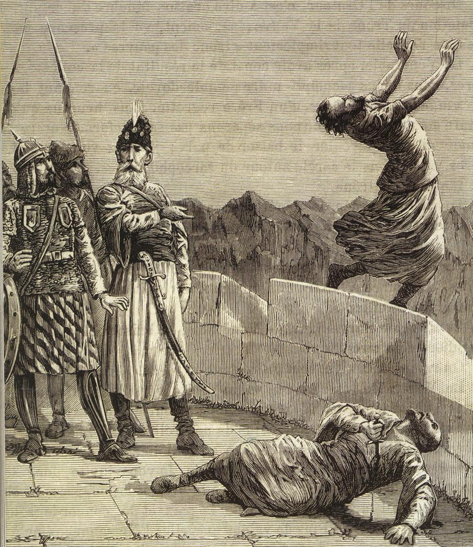 Fedailerin Hasan Sabbah'ın emirlerini kayıtsız şartsız yerine getirdiklerini tasvir eden bir gravür