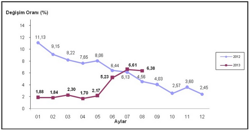 2013  Ağustos Ayı Enflasyon Oranları