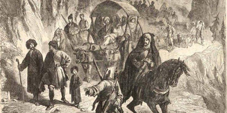 """Pyotr Gruzinski'nin ünlü """"Çerkes Sürgününde köylerini bırakan dağlı Çerkesler"""" tablosu, 1872"""