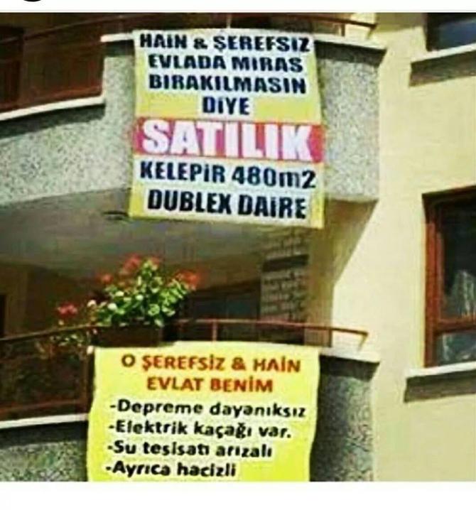 Hain Evlada Miras Kalmasın Diye Satılık...