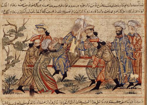 Büyük Selçuklu Devleti Veziri Nizamülmülk'e bir Haşhaşi tarafından düzenlenen suikastı resmeden bir 14. yüzyıl tablosu.