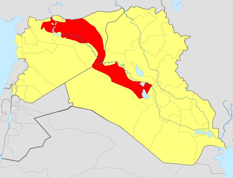 Ocak 2014 itibariyle IŞİD kontrölündeki bölgeler