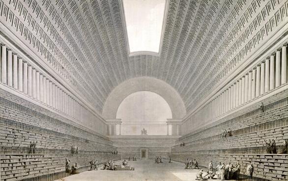 Romalılar  tarafından yakılan İskenderiye kütüphanesinin temsili  resmi