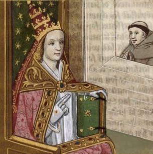 Bir papalık tacı ile Papa Joan'nın bir Orta Çağ sanatsal yorumu. Resimli el yazması. Bibliothèque nationale de France, yaklaşık 1560lar.