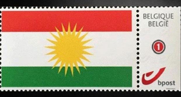 Belçika'da Posta Pulunda Kürdistan Bayrağı