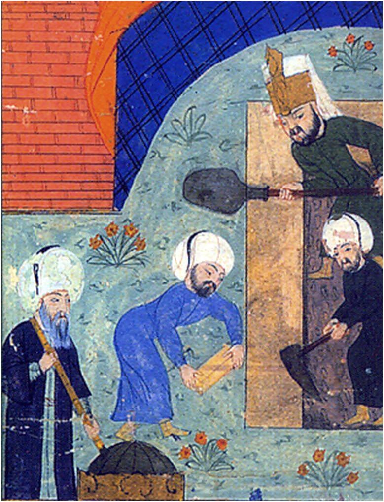 Mimar  Sinan'ın bilinen tek minyatürü. Solda elinde çekül tutan; Sinan