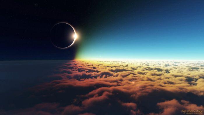Bulutlar Üzerinde Güneş Tutulması