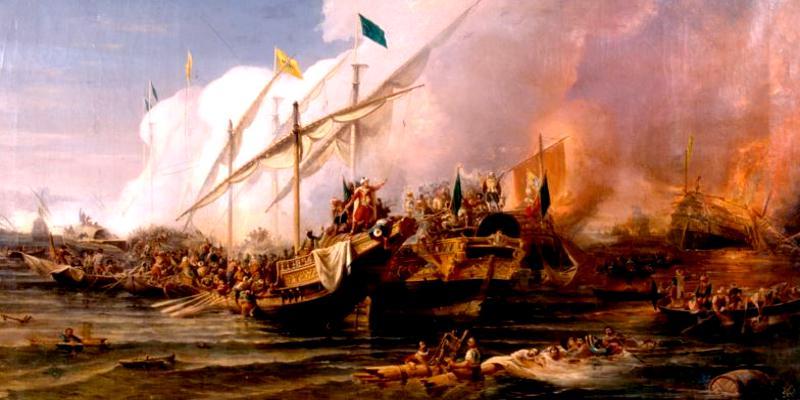 Preveze Deniz Muharebesi'nde Barbaros Hayrettin Paşa komutasındaki Osmanlı donanmasının Andrea Doria komutasındaki Haçlı donanmasını Adriyatik Denizi'ndeki Preveze Kalesi önünde yenilgiye uğratmasının tablosu, Ohannes Umed Behzad, 1866