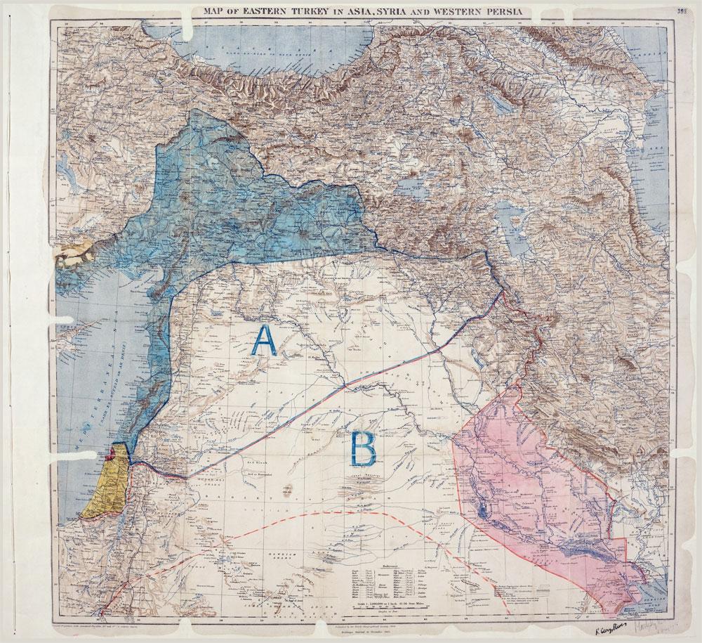 1916   yılında cetvelle çizilen bu haritanın sancısını Ortadoğu hala yaşıyor.   Araplar gizli anlaşmayla çizilen bu haritadan habersiz İngiliz ve   Fransızlar'ın bağımsızlık vaatleri ile Osmanlı'ya karşı isyan etmişti.