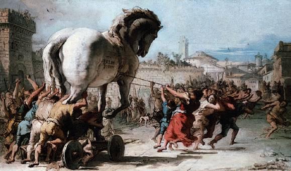 Truva atını şehre alan Troyalılar. Yağlıboya, Giovanni Domenico Tipeolo, 1773