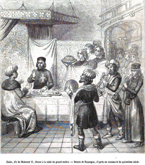 Rodos  Şovalyelerinin Lideri, Büyük Üstad Pierre d'Aubusson Cem Sultan İle  Yemekte